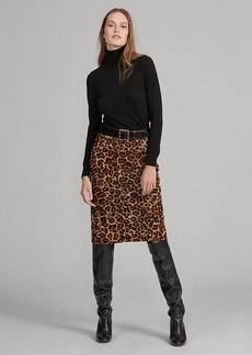 Ralph Lauren Leopard-Print Haircalf Skirt