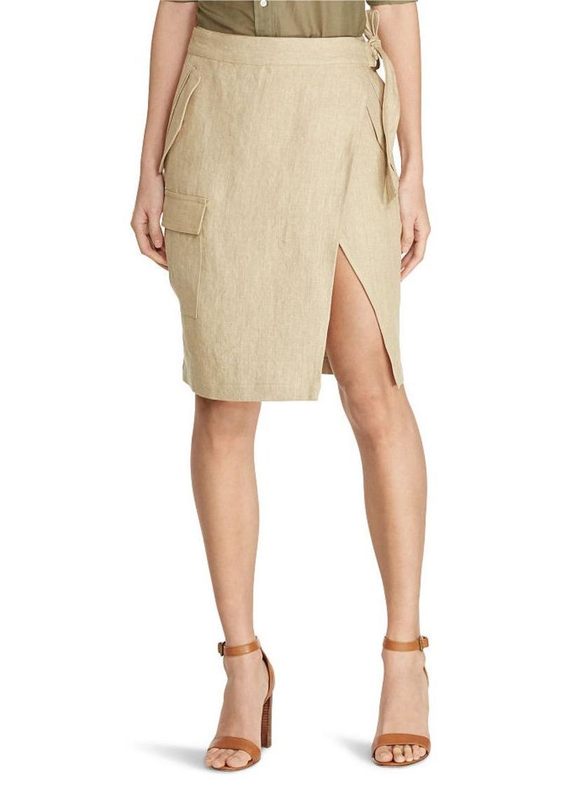 Ralph Lauren Linen Cargo Wrap Skirt