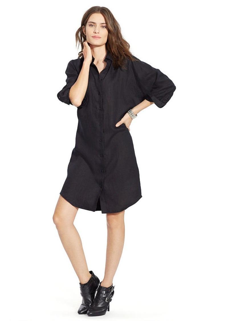 Ralph Lauren Linen Dolman-Sleeve Shirtdress