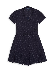 Ralph Lauren Little Girl's & Girl's Crepe Dotted Wrap Dress