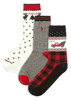 Ralph Lauren Little Boy's & Boy's 3-Pack Holiday Truck Crew Socks