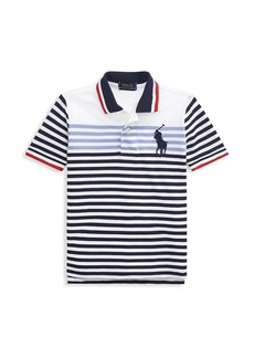 Ralph Lauren Little Boy's & Boy's Basic Mesh Striped Polo T-Shirt