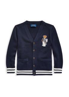 Ralph Lauren Little Boy's & Boy's Bear Patch Cardigan Sweater