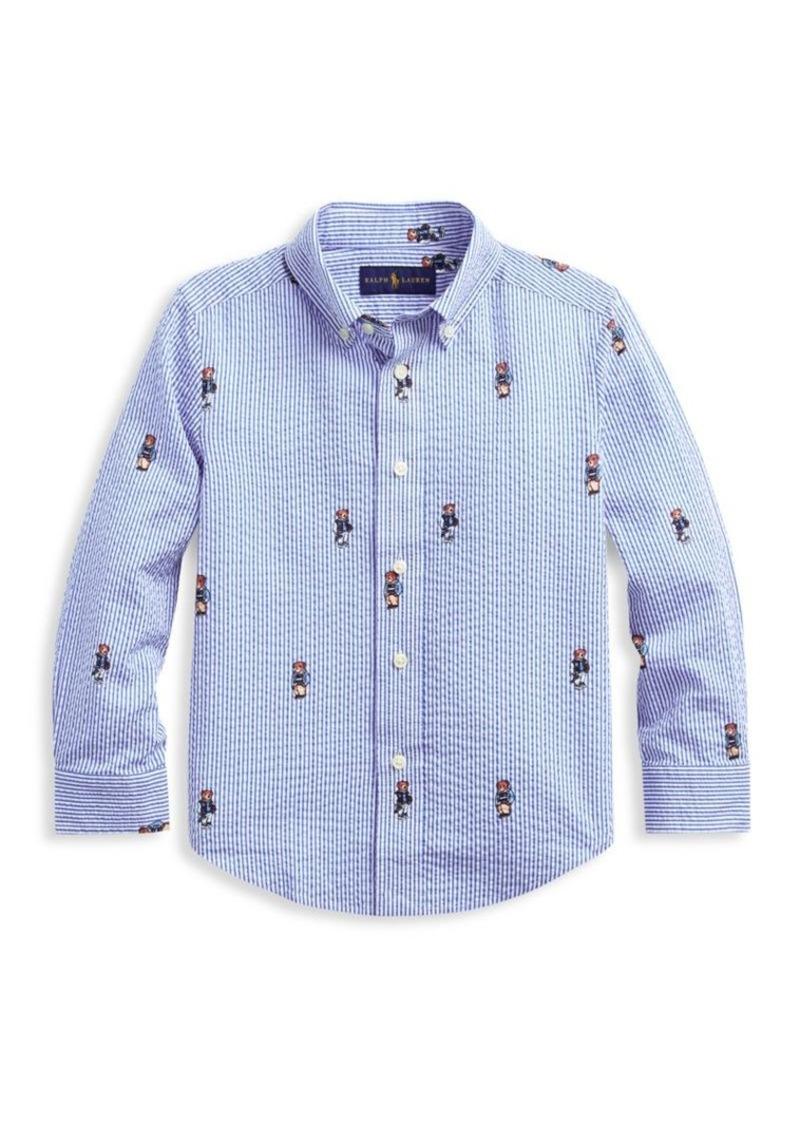 Ralph Lauren Little Boy's & Boy's Boating Bear Cotton Button-Down Shirt