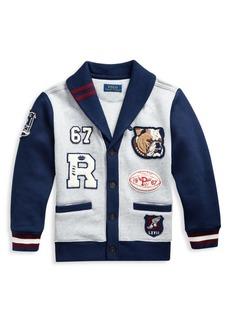 Ralph Lauren Little Boy's & Boy's Cotton-Blend Fleece Letterman Cardigan