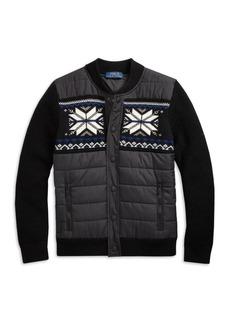 Ralph Lauren Little Boy's & Boy's Hybrid Snowflake Wool-Blend Knit Puffer Sweater Jacket