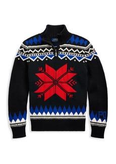 Ralph Lauren Little Boy's & Boy's Snowflake Pattern Merino Wool-Blend Zip Sweater