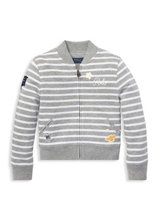 Ralph Lauren Little Girl's & Girl's Stripe Embroidered Jacket