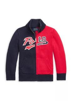 Ralph Lauren Little Boy's Combed Cotton Zip-Up Sweater