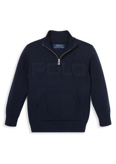 Ralph Lauren Little Boy's Logo Quarter Zip Sweater