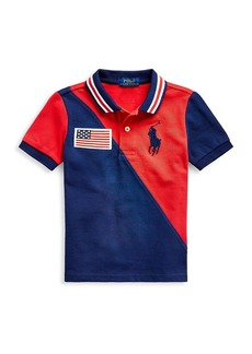 Ralph Lauren Little Boy's Two-Tone Embroidered-Flag Polo