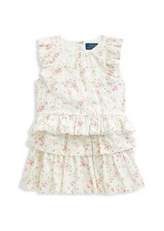 Ralph Lauren Little Girl's & Girl's 2-Piece Floral Ruffle Top & Skirt Set
