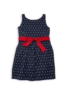 Ralph Lauren Little Girl's & Girl's Anchor Print Bow Dress