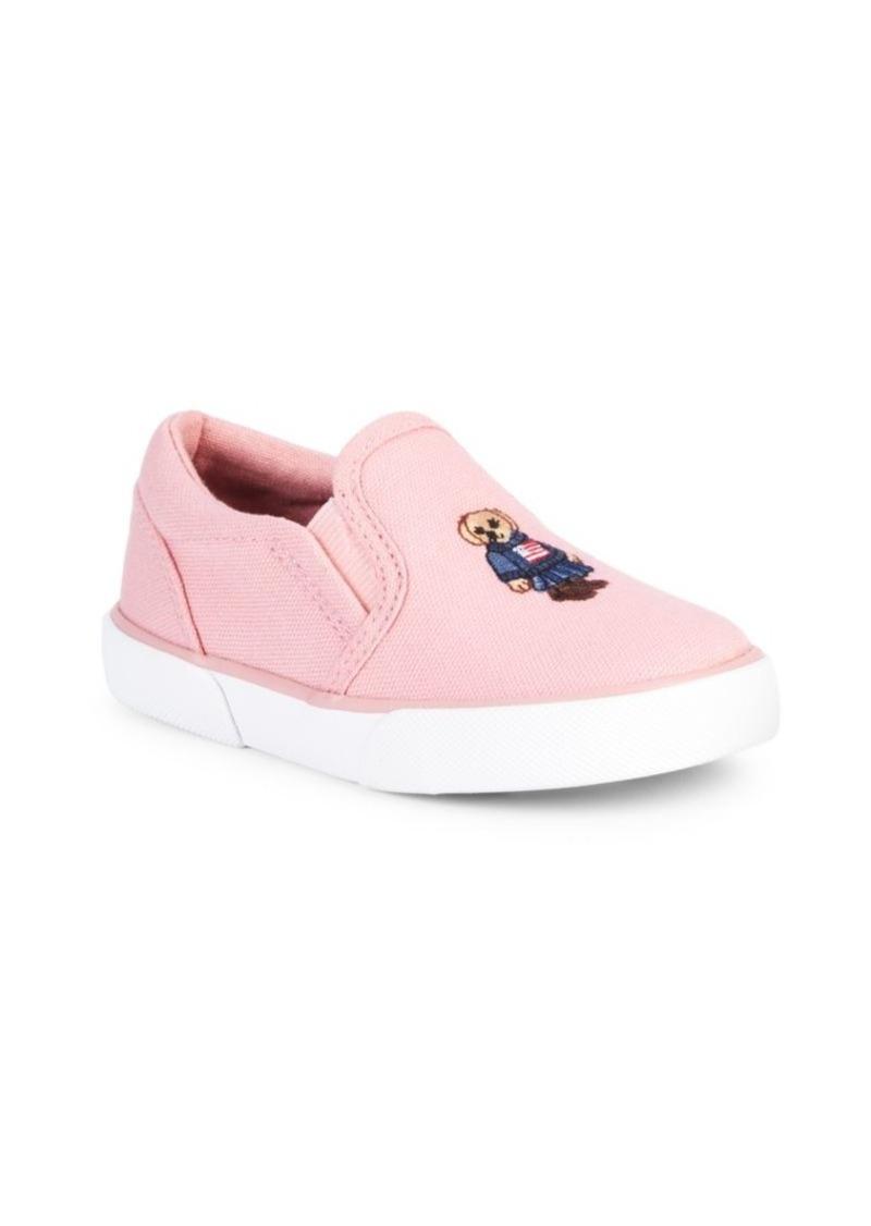 Ralph Lauren Little Girl's & Girl's Bal Harbour II Bear Slip-On Sneakers