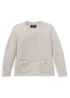 Ralph Lauren Little Girl's & Girl's Bow-Accent Wool Sweater