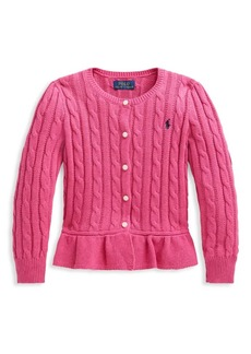 Ralph Lauren Little Girl's & Girl's Cable Knit Peplum Cardigan