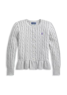Ralph Lauren Little Girl's & Girl's Cable-Knit Peplum Hem Sweater