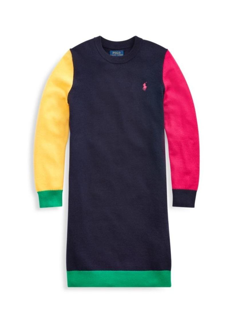 Ralph Lauren Little Girl's & Girl's Colorblock Sweater Dress