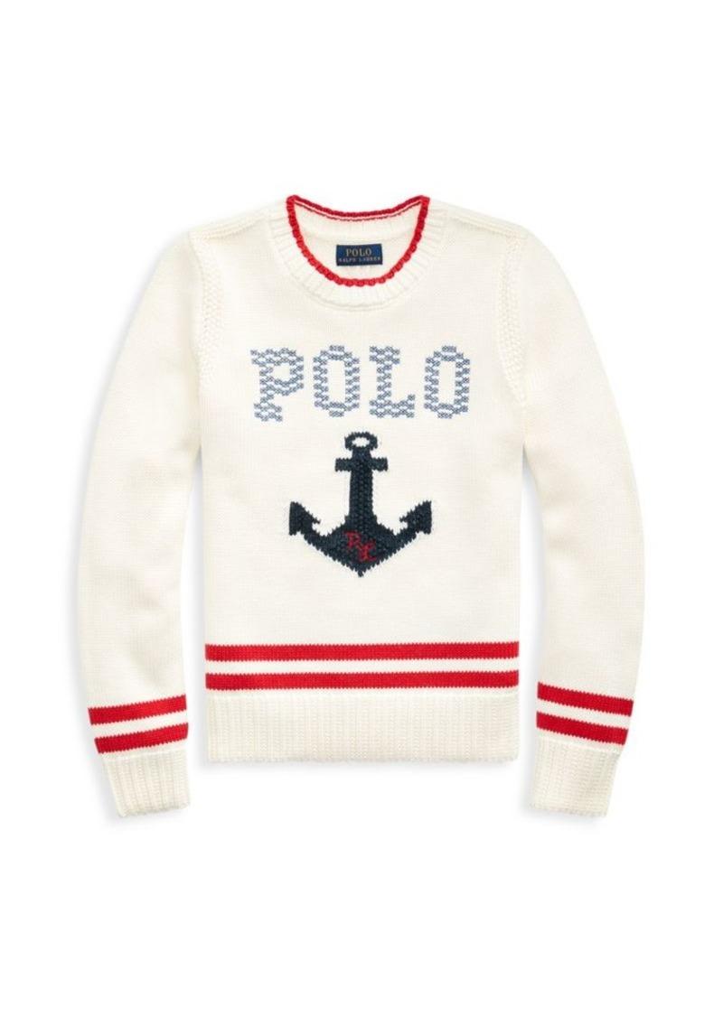 Ralph Lauren Little Girl's & Girl's Cotton Graphic Sweater
