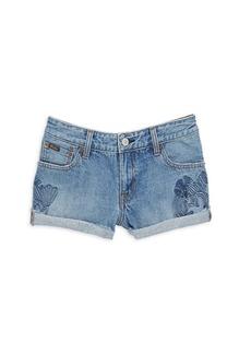 Ralph Lauren Little Girl's & Girl's Embroidered Denim Shorts