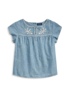 Ralph Lauren Little Girl's & Girl's Embroidery Chambray Top