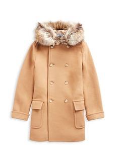 Ralph Lauren Little Girl's & Girl's Faux Fur-Trim Double Breasted Coat