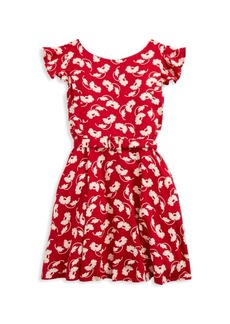 Ralph Lauren Little Girl's & Girl's Floral Print Flutter-Sleeve Fit & Flare Dress