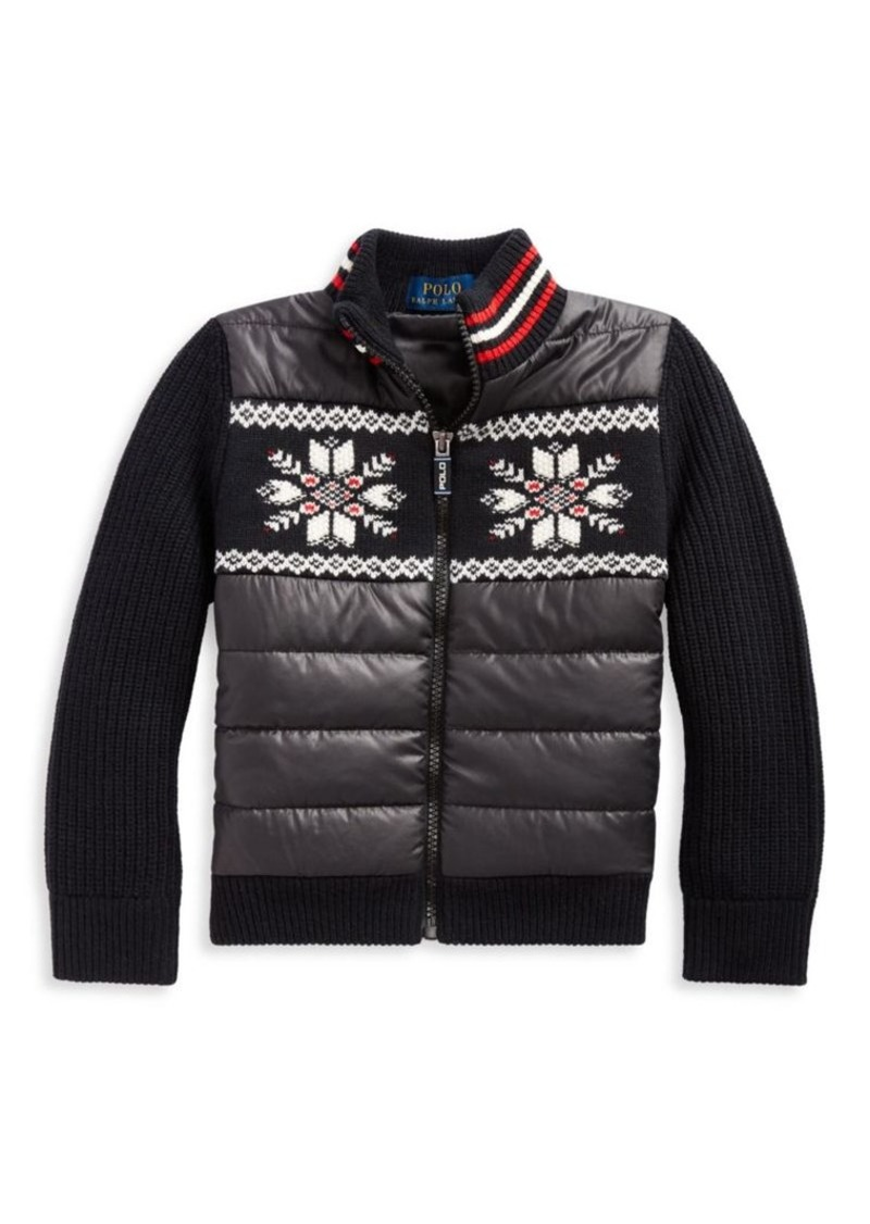 Ralph Lauren Little Girl's & Girl's Hybrid Snowflakes Sweater Jacket