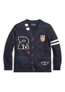 Ralph Lauren Little Boy's & Boy's Logo Patch Cardigan Sweater