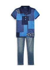 Ralph Lauren Little Girl's & Girl's Patchwork Polo
