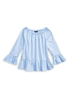 Ralph Lauren Little Girl's & Girl's Pinpoint Ruffled Oxford Top