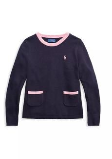 Ralph Lauren Little Girl's & Girl's Pleated Merino Wool Sweater