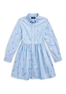 Ralph Lauren Little Girl's Pony Cotton Shirtdress