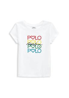 Ralph Lauren Little Girl's & Girl's Rainbow Logo Embroidery T-Shirt