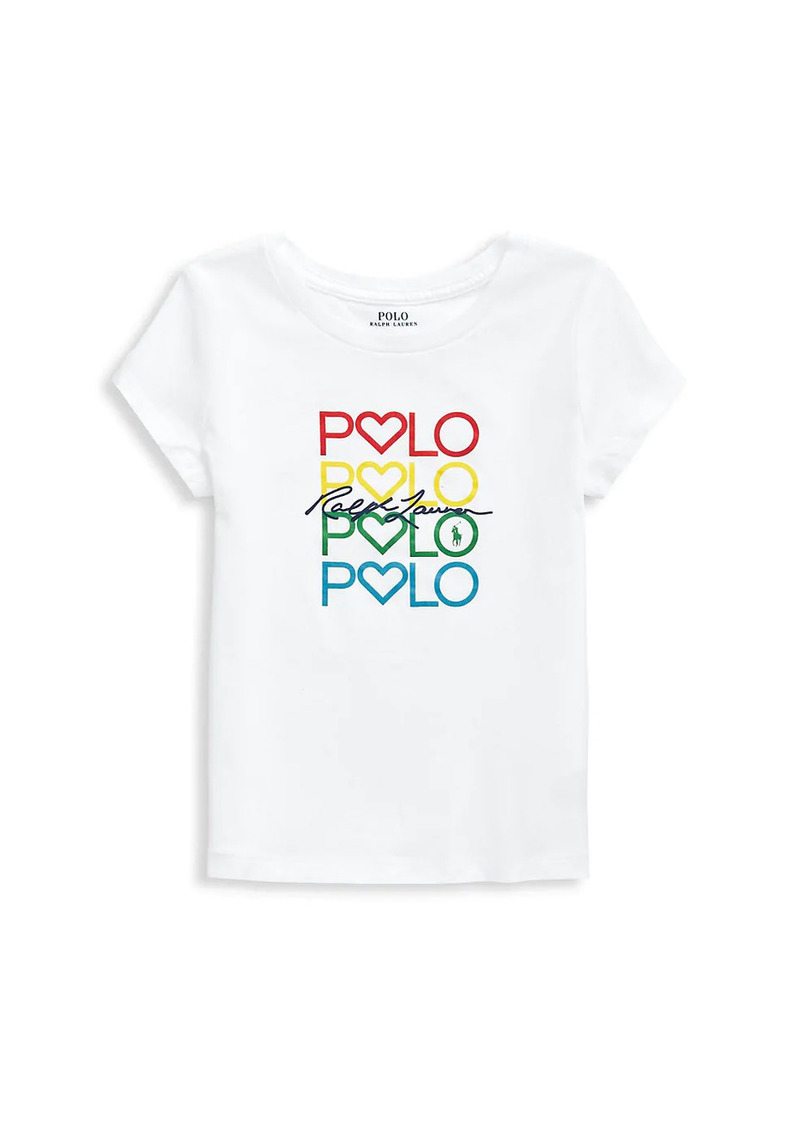 Ralph Lauren Little Girl's & Girl's Rainbow Logo Embroidery T-Shirt