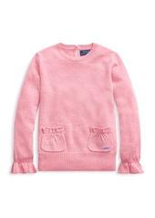 Ralph Lauren Little Girl's & Girl's Ruffle-Trim Sweater