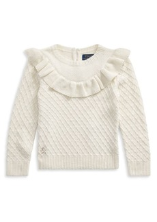 Ralph Lauren Little Girl's & Girl's Ruffled Yoke Diamond-Knit Top