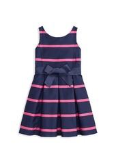 Ralph Lauren Little Girl's & Girl's Sateen Stripe Fit-&-Flare Dress