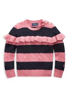 Ralph Lauren Little Girl's & Girl's Stripe Ruffle-Trim Sweater