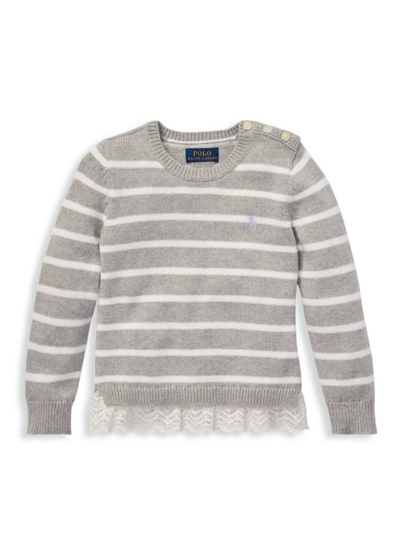 Ralph Lauren Little Girl's & Girl's Striped Lace Peplum Sweater