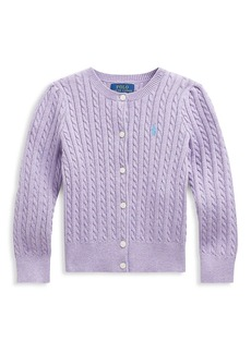 Ralph Lauren Little Girl's and Girl's Combed Button-Up Cardigan