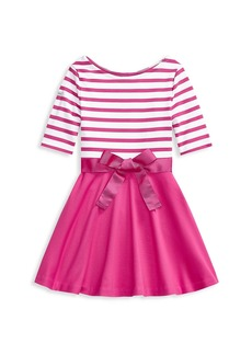 Ralph Lauren Little Girl's and Girl's Ponte Striped Sash Dress