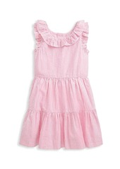 Ralph Lauren Little Girl's and Girl's Ruffle-Trimmed Seersucker Dress