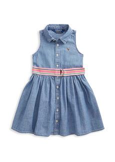 Ralph Lauren Little Girl's and Girl's Stripe-Waist Sleeveless Denim A-Line Dress
