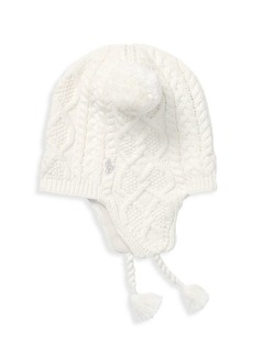 Ralph Lauren Little Girl's Aran-Knit Earflap Hat