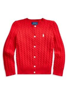 Ralph Lauren Little Girl's Cable-Knit Cotton-Blend Cardigan
