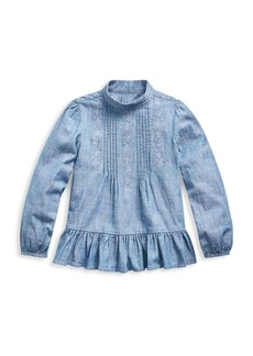 Ralph Lauren Little Girl's Chambray Peplum Top
