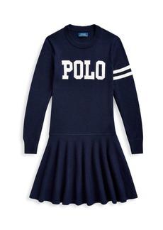 Ralph Lauren Little Girl's Logo Varsity A-Line Merino Wool Sweater Dress