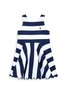 Ralph Lauren Little Girl's Ponte Ruffle Striped Dress