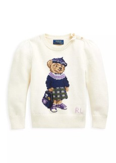 Ralph Lauren Little Girl's Puff-Sleeve Bear-Print Sweater